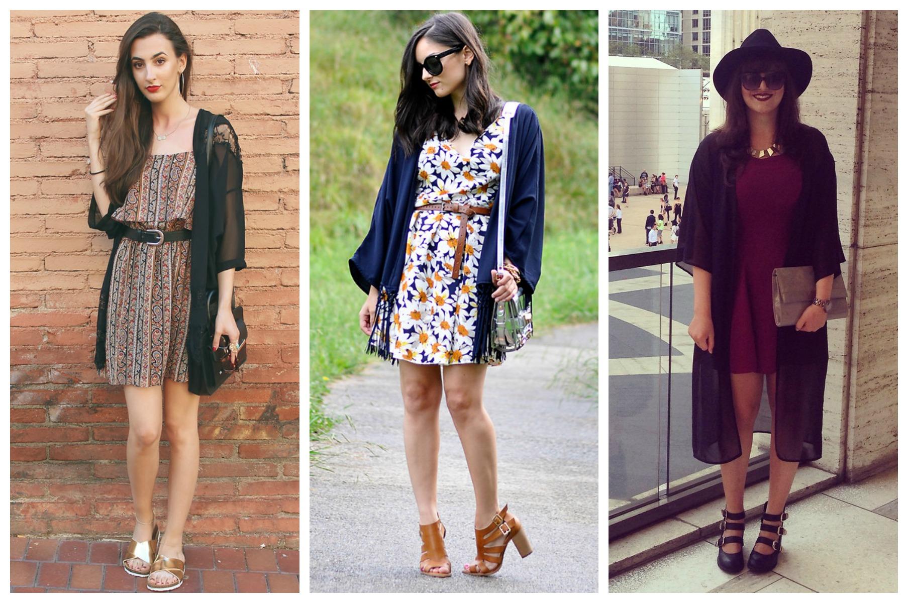 kimono e vestidos
